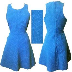 Banana Republic Blue Fit Flare Texture Dress 10